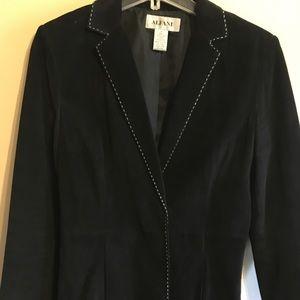 Alfani Black Leather Suede Blazer Jacket - -Size M